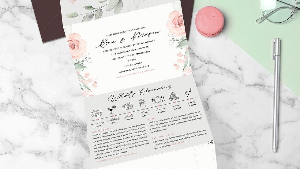 Whimsical Tri Fold Wedding Invitations With Envelopes