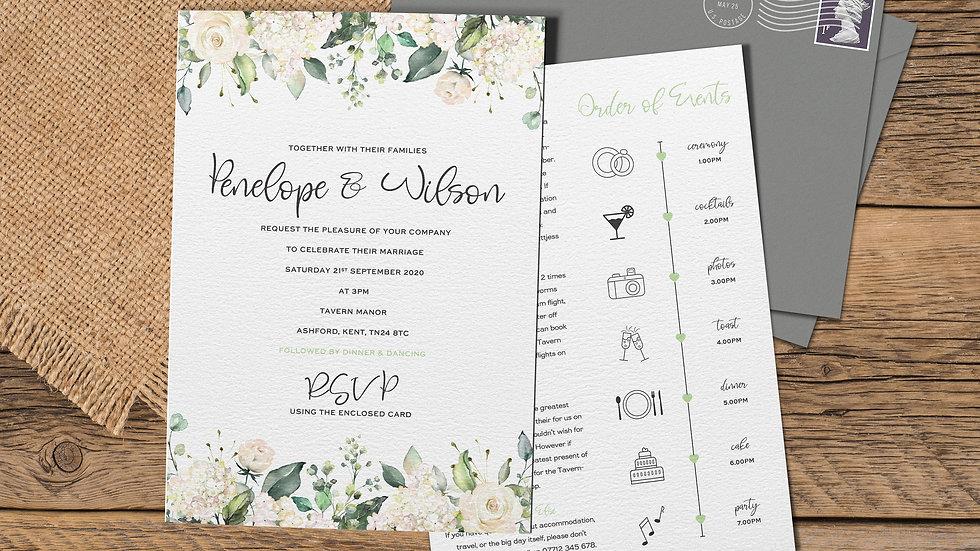 "White Roses 7x5""Wedding Invitations With Envelopes"