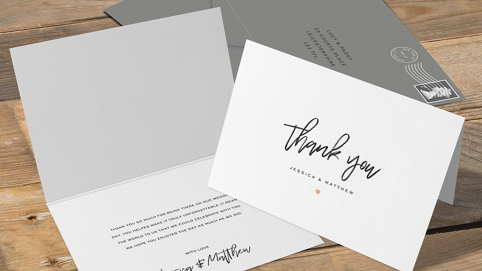 Simple Folded Thank You Cards With Envelopes