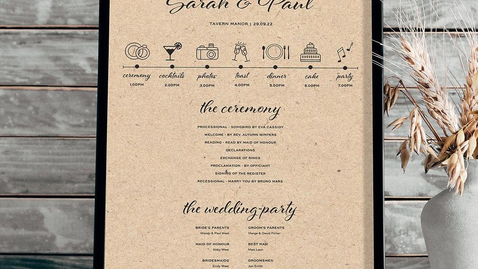 Kraft Lights Wedding Program Sign