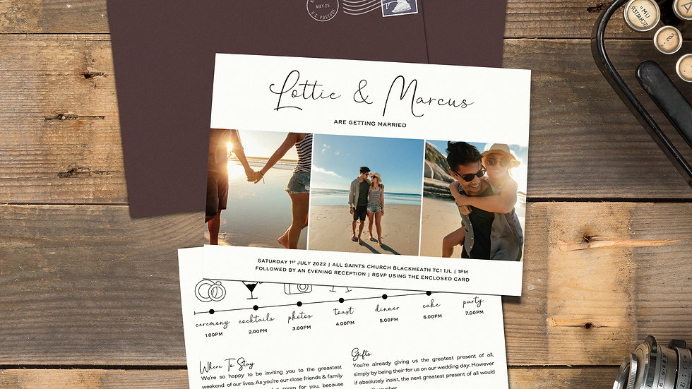 """Photo Booth 7x5""""Wedding Invitations With Envelopes"""