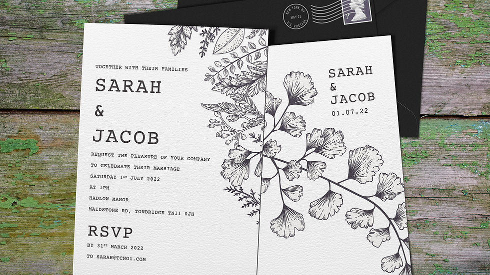 """Outline 7x5""""Wedding Invitations With Envelopes"""