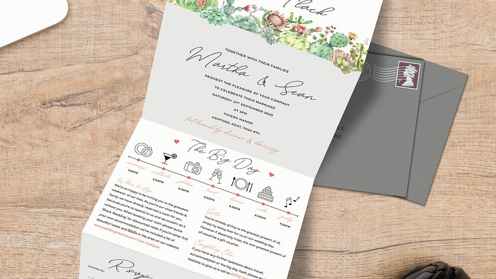 Succulents Tri Fold Wedding Invitations With Envelopes