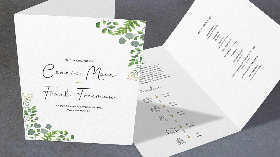 Greenery Eucalyptus Folded Wedding Programs