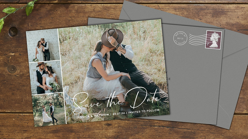 One Big, Three Small Save The Date Cards With Envelopes