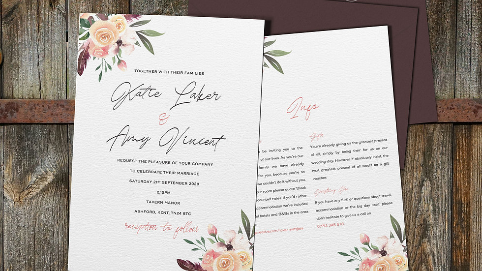 "Rustic Floral 7x5""Wedding Invitations With Envelopes"