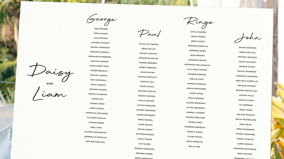Sunflowers Table Plan