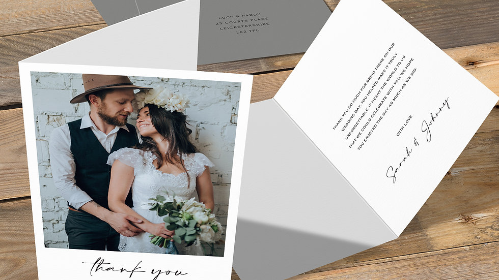 Instant Camera Folded Thank You Cards With Envelopes