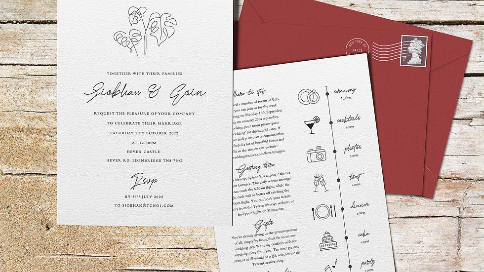 "Beach 7x5""Wedding Invitations With Envelopes"