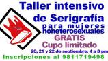 Convocatoria Taller intensivo de serigrafía para mujeres noheterosexuales.