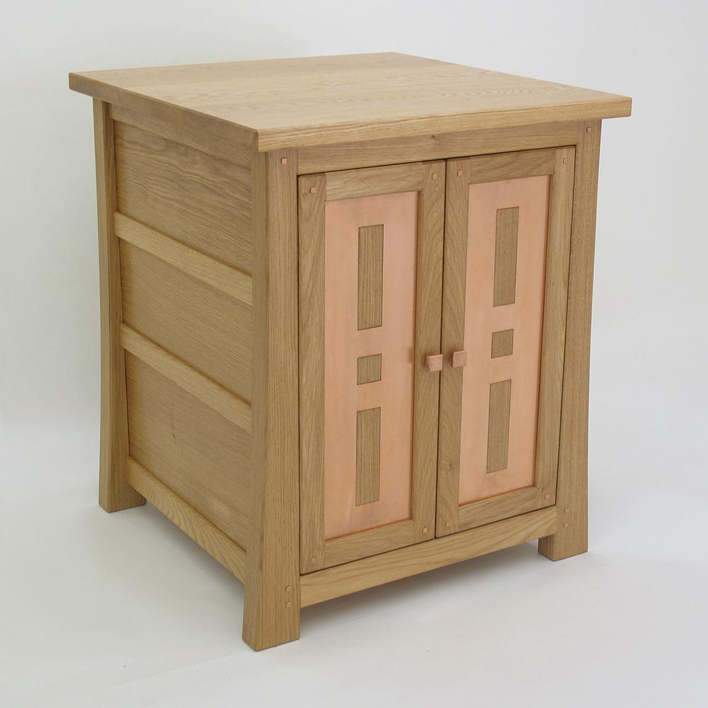 oak and copper tv cabinet