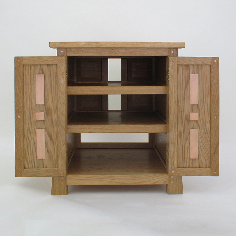 oak and copper tv cabinet