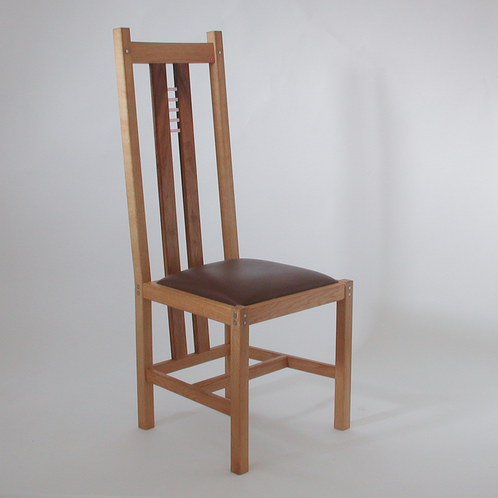 oak and walnut dining chair