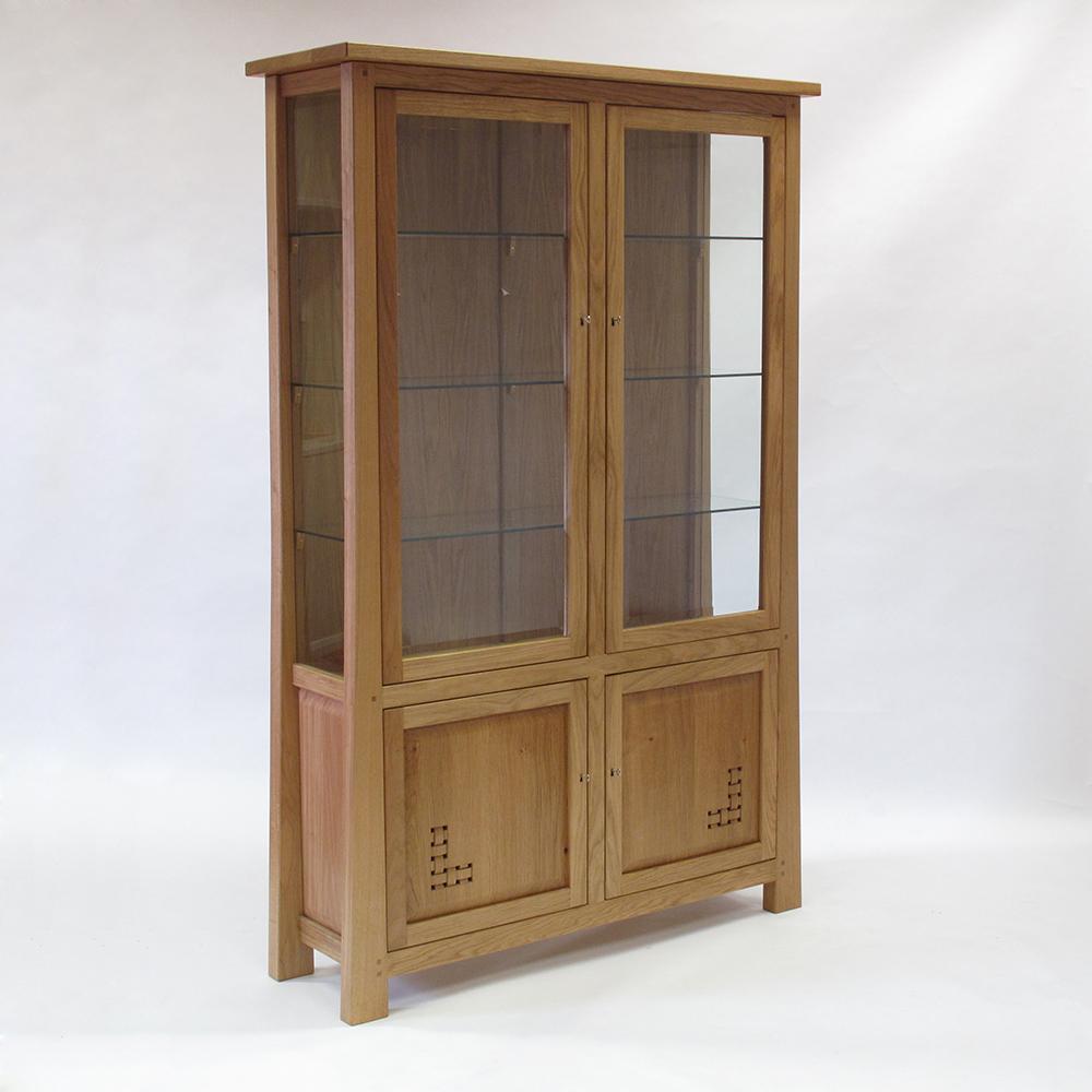 tall oak display cabinet