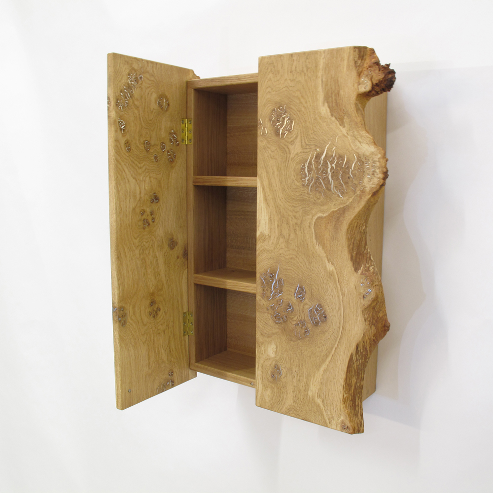 burr oak and pewter cupboard