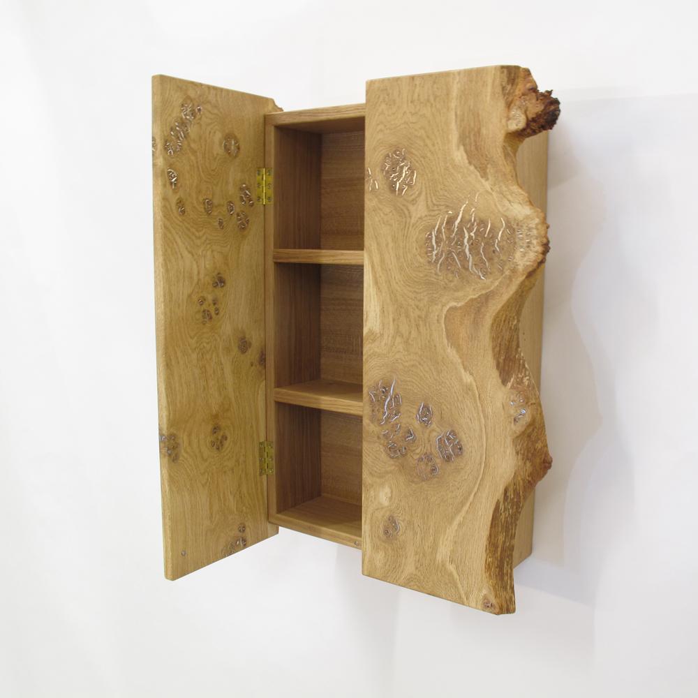 burr oak and pewter cupboard