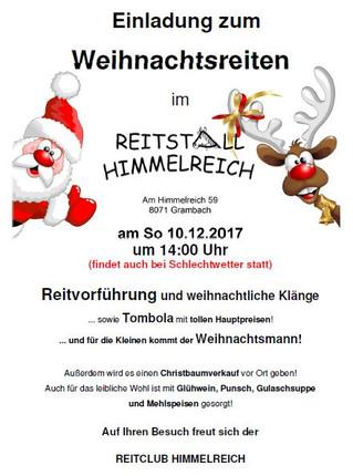 Einladung zum Weihnachtsreiten  am Sonntag 10.12.2017