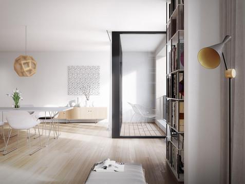 Wnętrze mieszkania w projektowanej kamienicy.