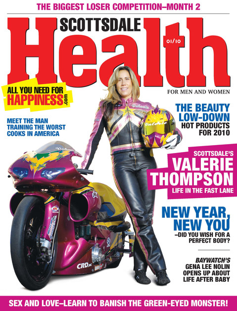 Valerie on the front cover of the Scottsdale Health Magazine
