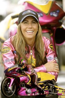 Valerie enters the NHRA Pro Stock Motorcycle Drag Racing Series.JPG