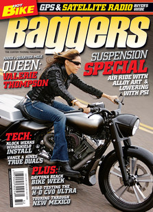 Valerie on the front cover of the Hot Bike Baggers Magazine