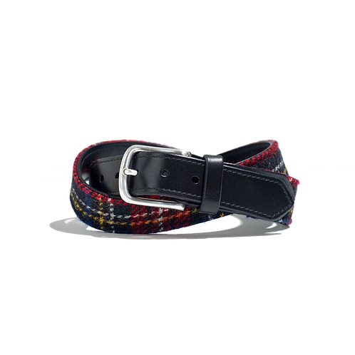TARTAN CHECK with BLACK LEATHER