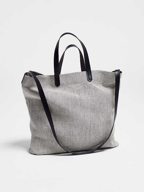 TOTE BAG with UNBLEACHED LINEN & BLACK LEATHER