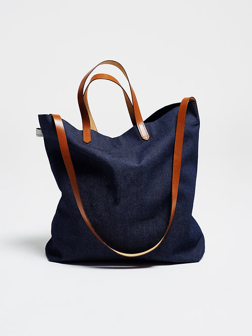 TOTE BAG with DENIM & COGNAC LEATHER