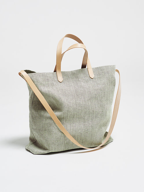 TOTE BAG with LEAF LINEN & NATURAL LEATHER