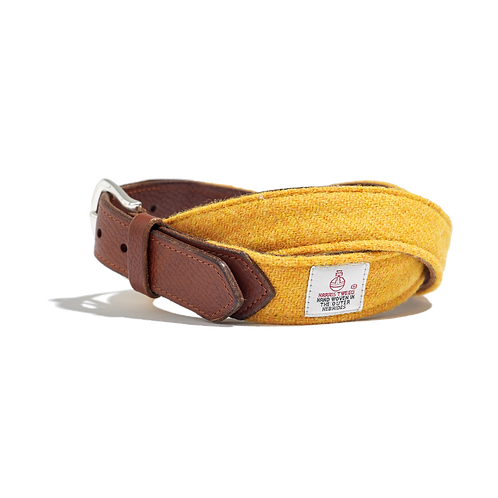 YELLOW TWEED with EMBOSSED BROWN LEATHER