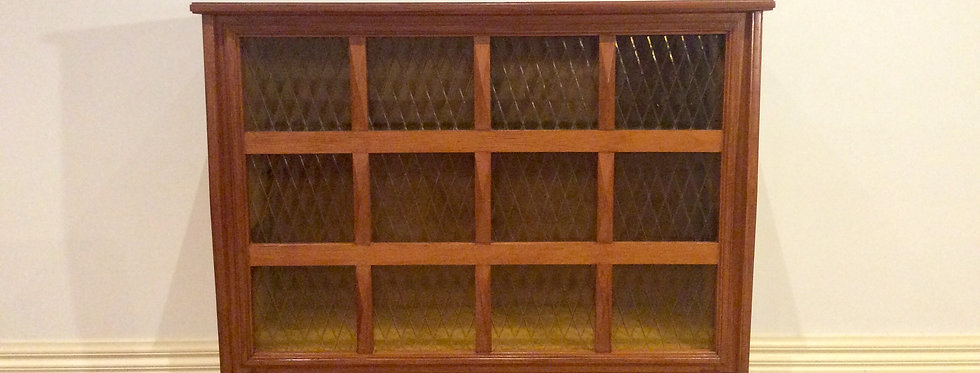 Mid Century Teak Cocktail Cabinet with Diamond Patterned Amber Glass.