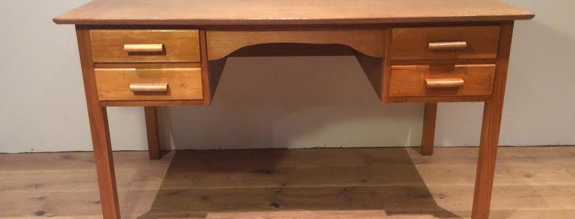 Mid Century Solid Oak Teachers Desk.