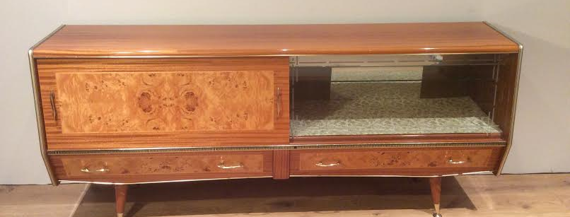Mid Century Sideboard with Burr Walnut Panels