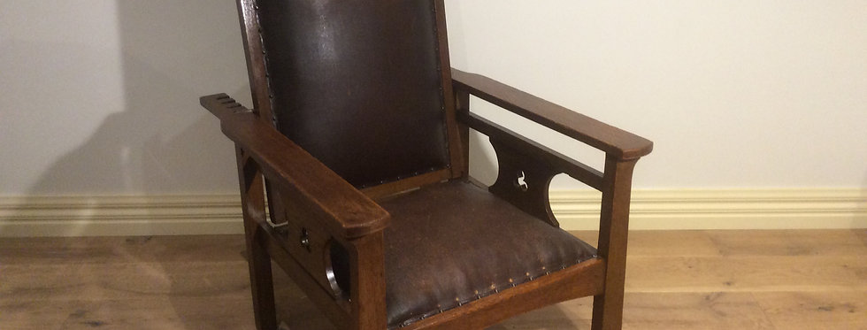 Solid Oak Arts & Crafts Morris Armchair