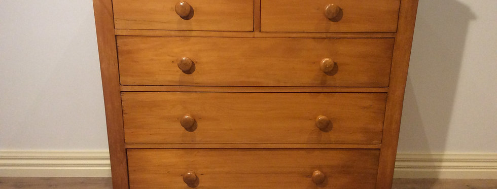 Restored Edwardian Kauri Pine Chest of Drawers