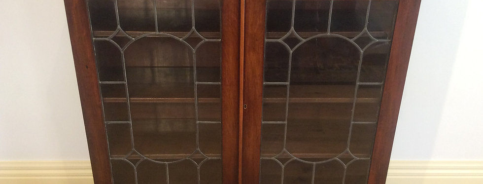 Antique Mahogany Lead Light Bookcase.