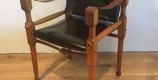 Mid Century Michael Hirst Leather Safari Chair. Circa 1960. 1 of 2