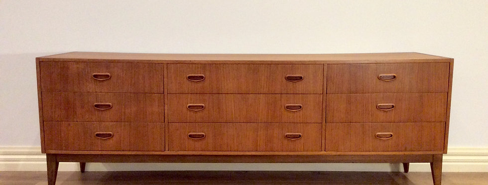 Large Mid Century Parker Nine Drawer Teak Sideboard. Circa 1960