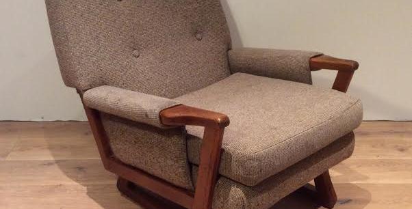 Mid Century Danish Inspired Upholstered Arm Chair. Circa 1970