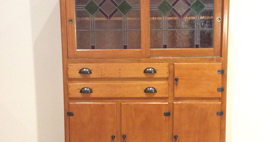 Mid Century Kitchen Cabinet with Leadlight Panel Doors. Circa 1940.