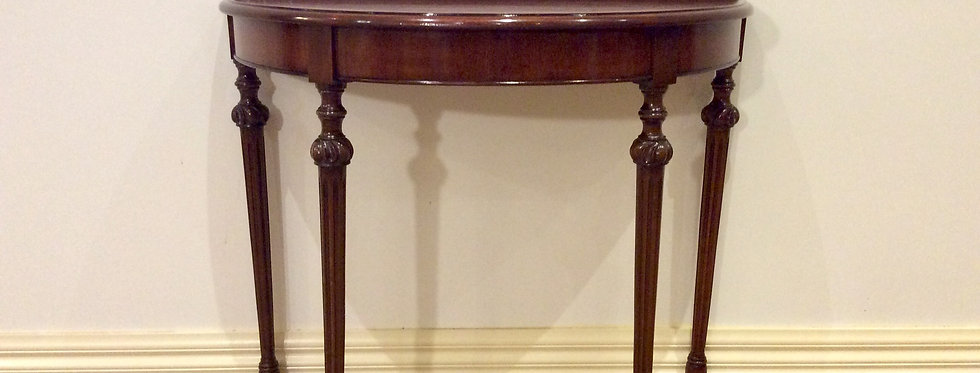 Decro Mahogany Console Table with Fluted Legs.
