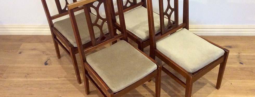 Four Matching Mid Century Avalon Blackwood Dining Chairs.