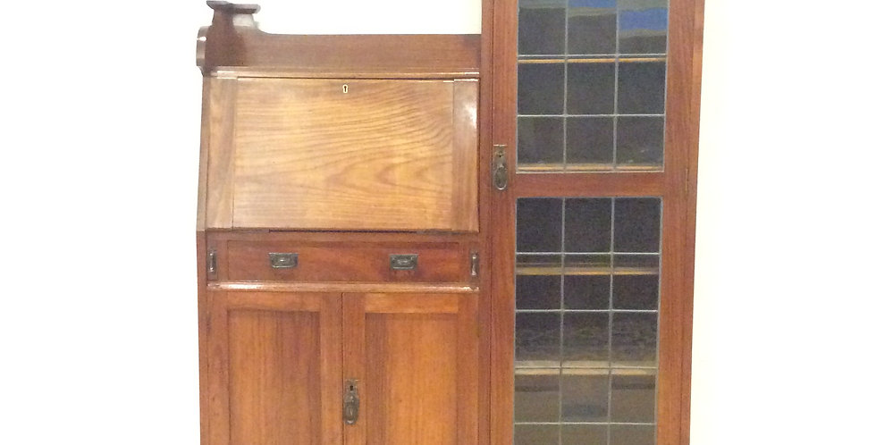 Antique Drop Front Secretaire with Leadlight Panel Side Cabinet. Circa 1920.