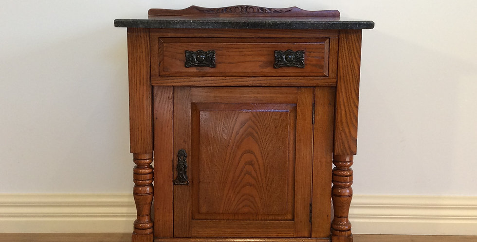 Marble Top Edwardian Cedar Pot Cupboard with Top Drawer