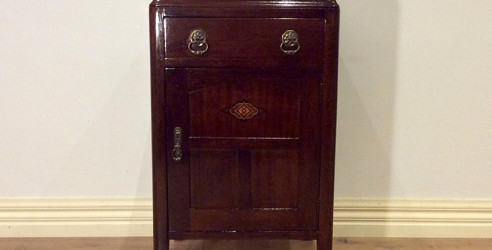 1920s Solid Oak Bedside Cabinet with Inlaid Panel Door. 1