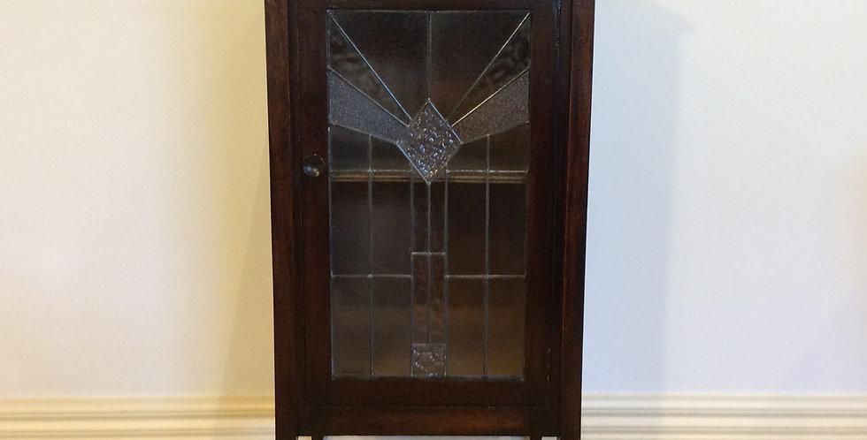 Antique Blackwood Cabinet with Lead Light Panel Door.