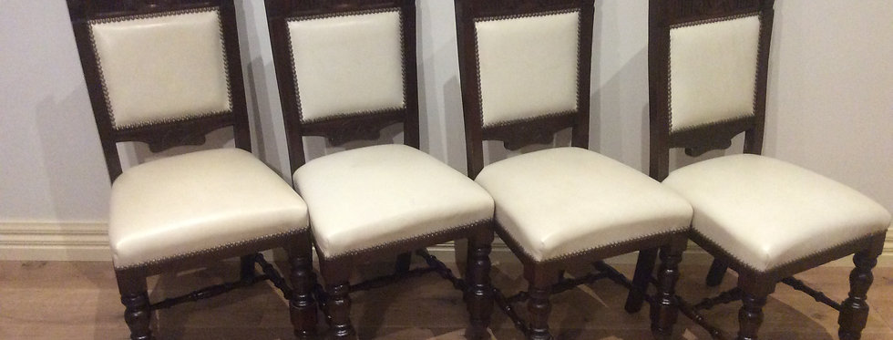 Professionally Restored Antique Leather Chairs. Circa 1900