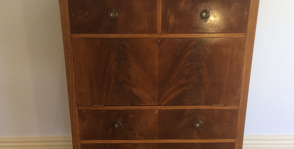 Antique Flame Mahogany Drop Front Secretaire