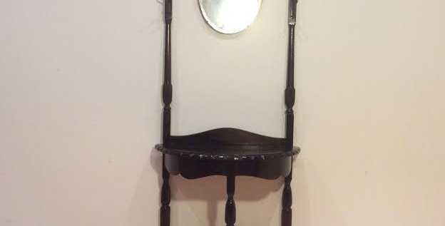 Oak Hall Stand with Pie Crust and Hanging Mirror.