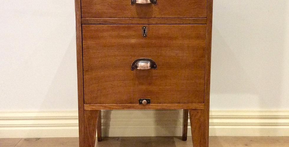 Mid Century Industrial Hardwood Two Drawer Filing Cabinet. Circa 1950.